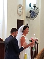 Liam Griffin Crovraghan and Suzanne Kelly Dublin on their wedding day at Our Lady of Graces Catholic Church, Larnaca, Cyprus on 20 April 2017