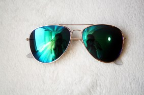 My sunglasses are cheapies from Five Below. Just a gold and blue aviator style.