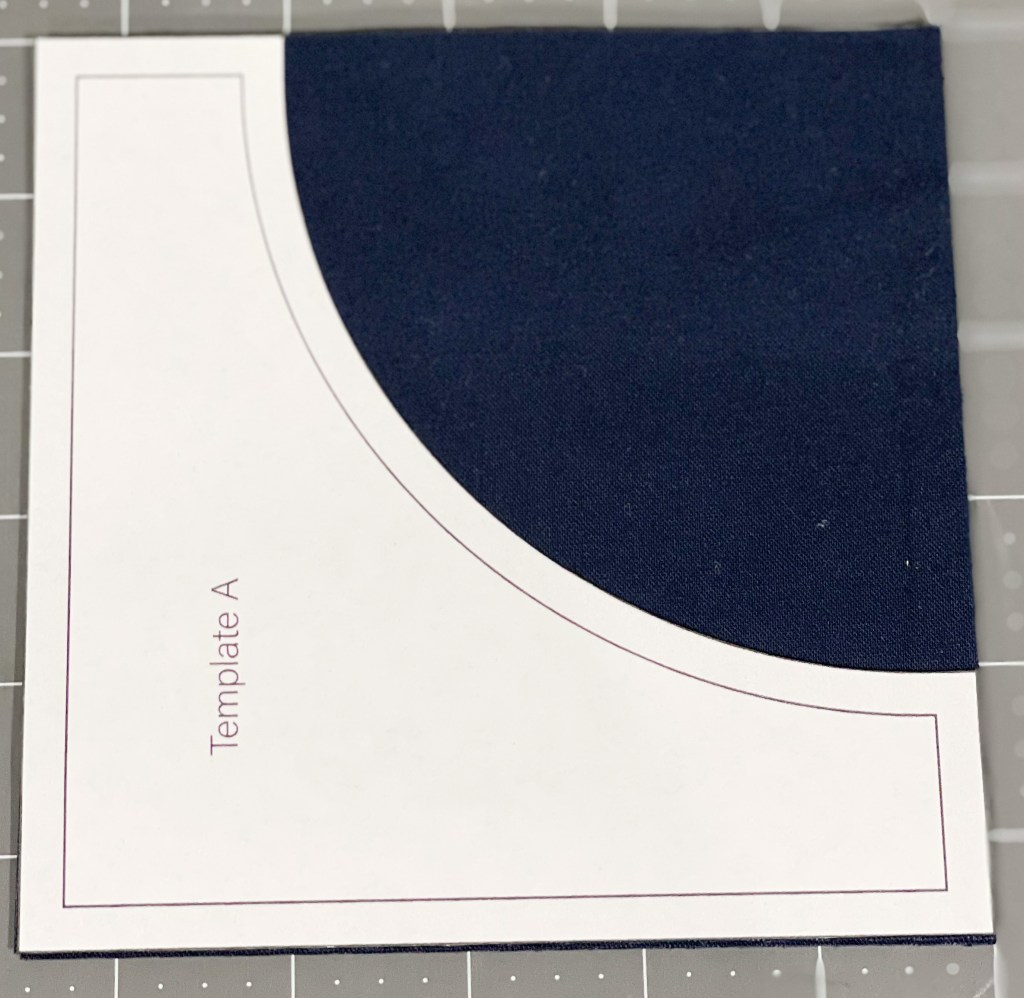 How to sew curves: Placing template on fabric.