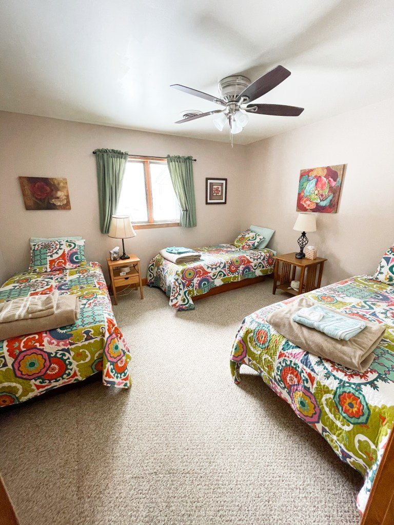 One of the many bedrooms for the quilt retreat