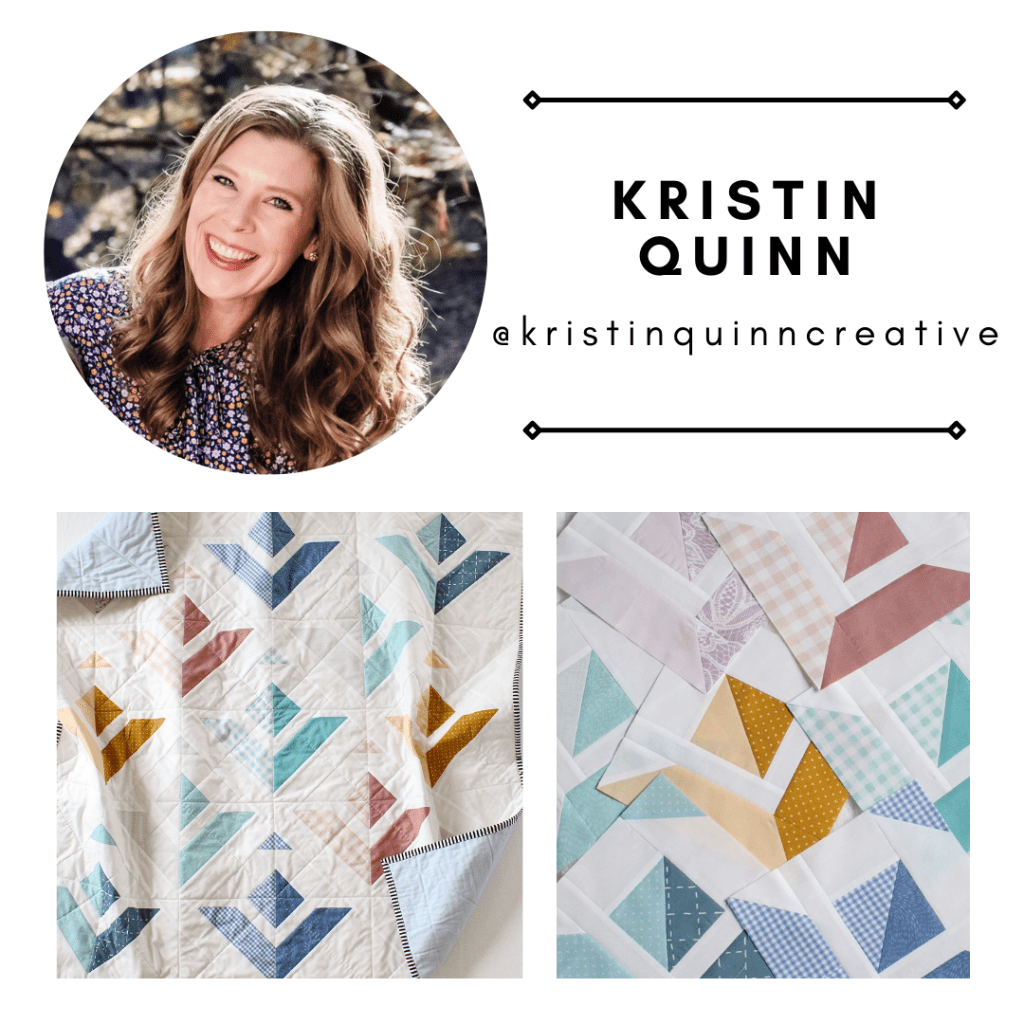 Pattern tester Kristin Quinn from @kristinquinncreative with her Paper Planes Quilt