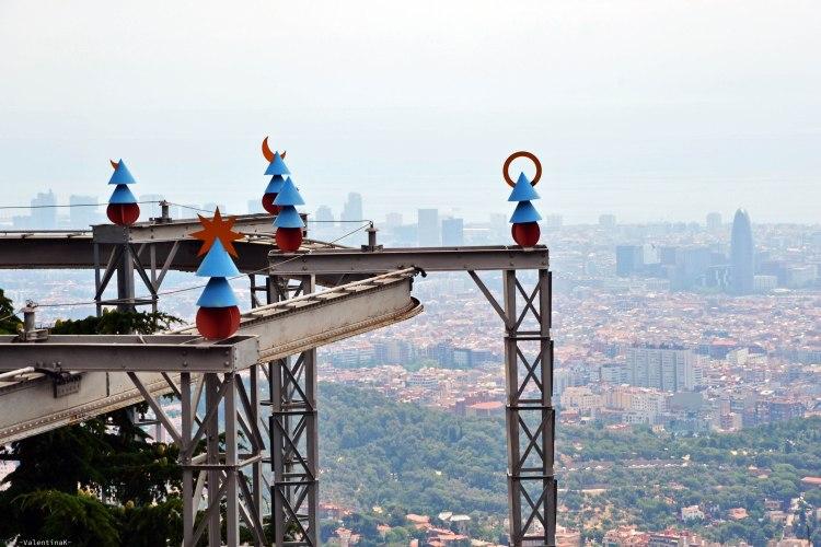 barcellona dall'alto: gioco e attrazione del parco tibidabo