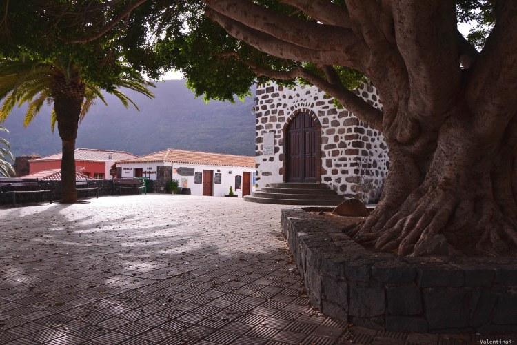 dieci cose che amo di Tenerife: la piazzetta di masca, con l'eremo e l'albero secolare