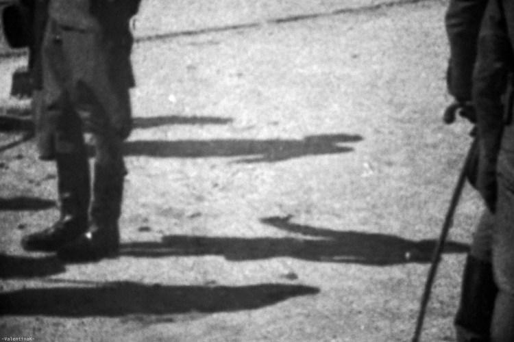 auschwitz-birkenau 27 gennaio: particolare della fotografia in bianco e nero del momento dello smistamento