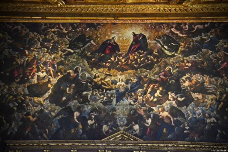 il paradiso del tintoretto, nella sala del maggior consiglio del palazzo ducale di venezia