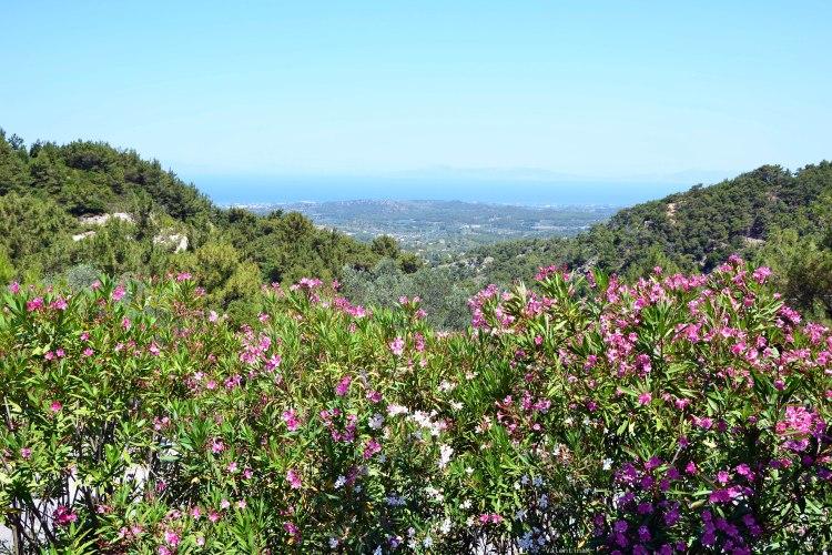 veduta dall'alto sul mar egeo e su rodi