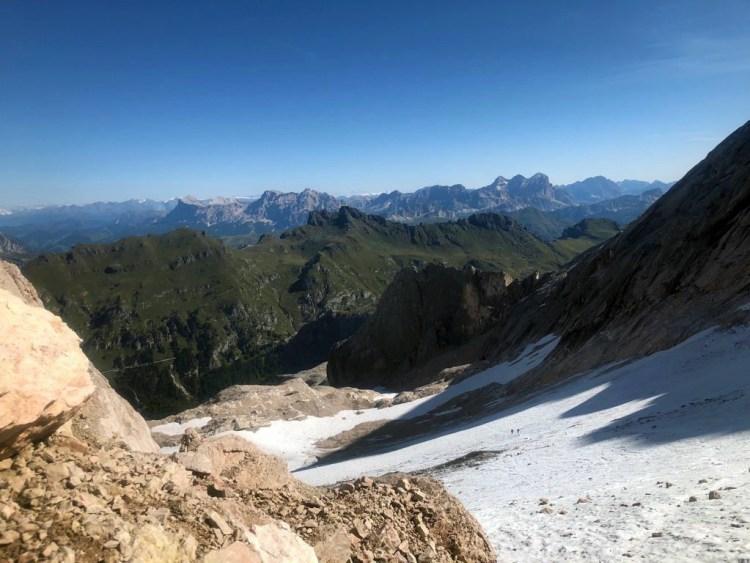 in cima alla marmolada: il ghiacciaio del Gran Vernel, prima della via ferrata cresta ovest
