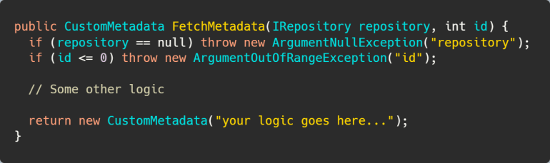 Argument validation without the nameof operator