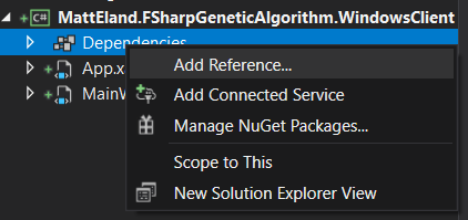 Project context menu for its dependencies node with Add Reference... highlighted.