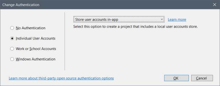 Individual user accounts with storing user accounts in-app selected