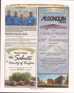 A Journey Through Time - Past, Present and Future. Published by The Eganville Leader, celebrating the 150th anniversary of Renfrew County. Page 38