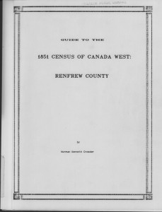 Census 1851 Renfrew County- 1