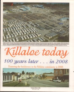 Killaloe Today, published in August of 2008 to commemorate the Town's 100th Birthday. Page 1
