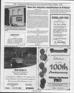 A trip down memory lane, produced by the Eganville Leader to commemorate Killaloe's centennial, in August 2008. Page 29