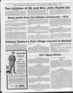 A trip down memory lane, produced by the Eganville Leader to commemorate Killaloe's centennial, in August 2008. Page 7