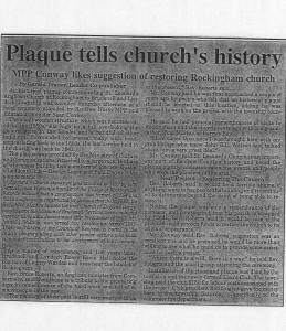 Mpp likes suggestion to restore rockingham church