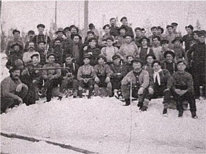 Winter at a J. R. Booth Lumber Camp. Front row, far left, Daniel Costello. Private Collection.