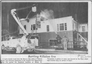Photo of cooperation during a fire in the Bouchard building, 1979. Pearl Murack Collection.