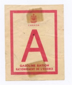 Gas ration coupon from WWII rations book. Pearl Murack Collection.