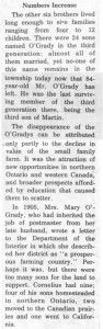 This story and linked photos was written by Brenda Lee-Whiting and published in the Eganville Leader April 2nd, 1975. It is the story of the O'Grady family and Settlement about 9 miles south-west of Killaloe along the Opeongo Line. This is part 12 of 19