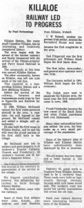 This collection of stories and photos was printed in the 70's in Barry's Bay This Week newspaper. Part 6 of 10. Betty Mullin Collection.