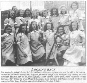 Photo of St. Andrew's School Girls Softball Team during the 1941-42 school year.