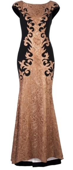 Theia Bronze & Gold Baroque Gown