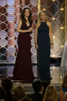 Tina Fey & Amy Poehler on stage Look 1