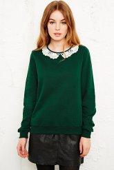 Urban Outfitters €55 - Cooperative Crochet Collar Sweatshirt http://tinyurl.com/o7qlcjv