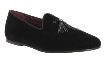 Ted Baker €161.61/£120 - Thrysa Slipper Loafers in Black Velvet http://bit.ly/1YN5EUB