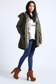 Boohoo €61 - Cornelia Leopard Faux Fur Trim Parka http://bit.ly/1tDB8hJ