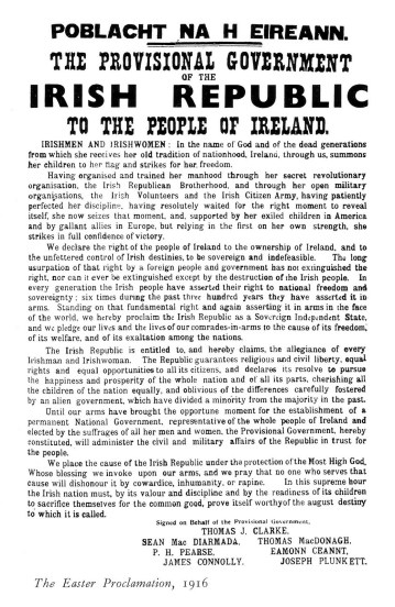1916 Easter Rising Proclamation
