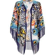 River Island - Blue Tiger Satin Burnout Printed Fringed Kimono http://tinyurl.com/op6gcbu