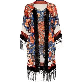 River Island €55 - Red Oriental Bird Fringed Kimono http://tinyurl.com/q35tbd5