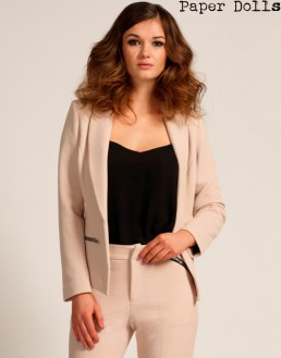 Paper Dolls €77.55 - Cream Textured Zip Detail Tailored Jacket http://www.little-mistress.co.uk/clothing-c9/cream-textured-zip-detail-tailored-jacket-p1220