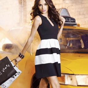 Quiz €35.09 - Black And Cream Stripe Pleat Skater Dress http://bit.ly/1uCu56F
