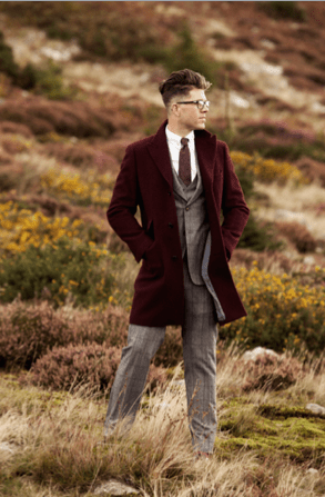 DX x LC from €850 - The Tom Suit & Burgundy Brushed Wool Overcoat