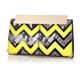 River Island €33 - Lime Zig Zag Frame Top Clutch http://bit.ly/1JHCrTn