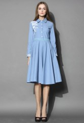 Chicwish €43.90 - Grace Embroidered Denim Midi Dress http://bit.ly/1CcgnwI