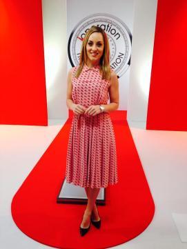 Kathryn Thomas wearing Orla Kiely