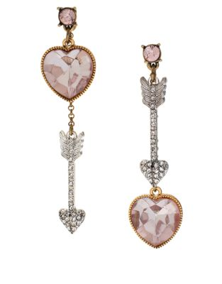 Betsey Johnson €41.69 - Heart and Arrow Mismatch Earrings http://bit.ly/1C0uQe9