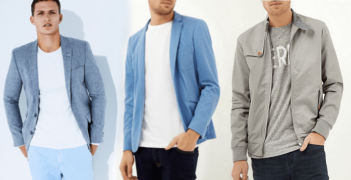 (L-R) Blue Double Breasted Slim Blazer, €120 http://bit.ly/1xapSNq // Blue Vito Jersey Blazer (sold out) // Grey Casual Urban Bomber Jacket, €65 http://bit.ly/1Hf2QZ8 (also available in Blue or Light Blue)