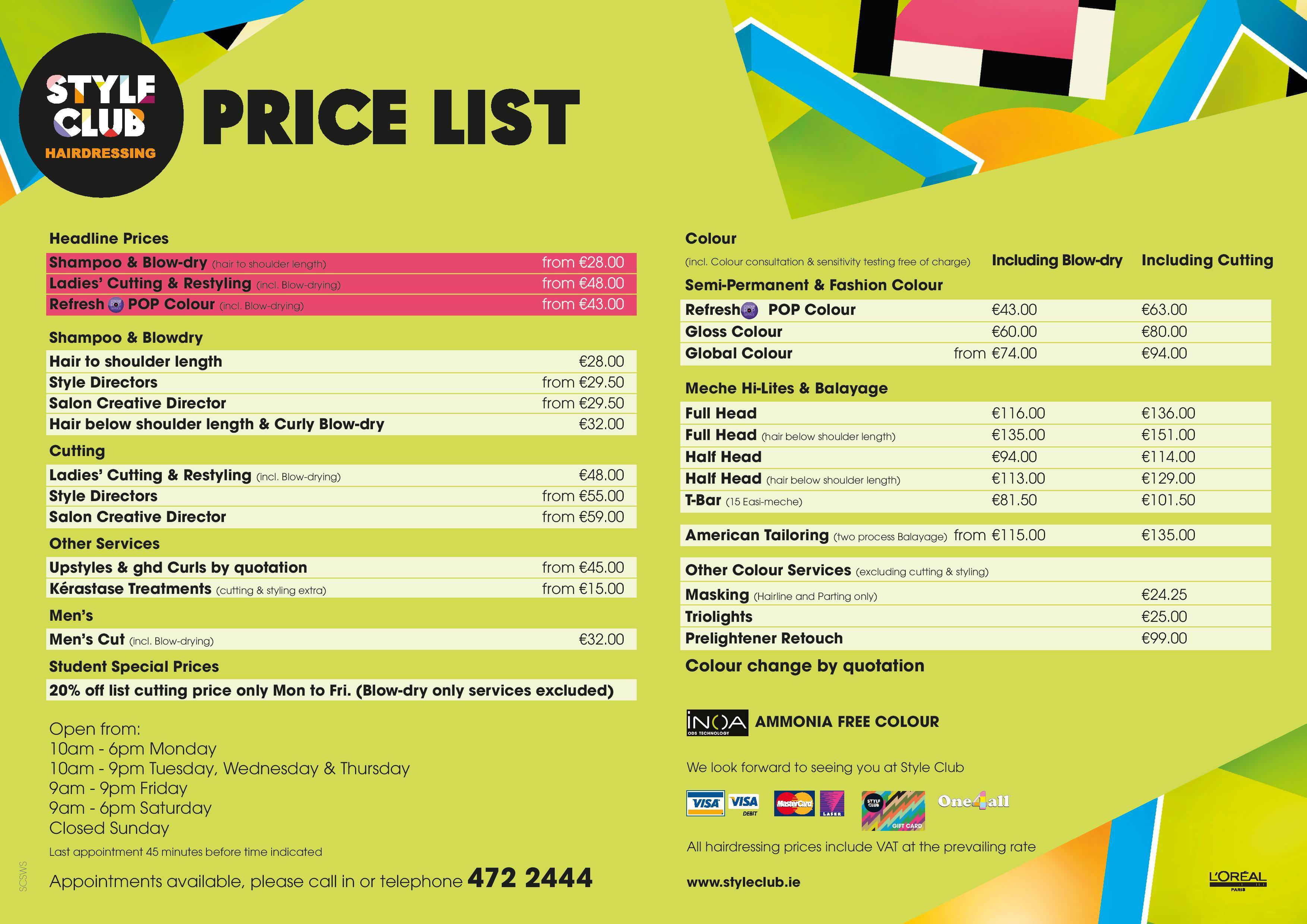 Hairstyle Price List Hairstyle Price List Hairstyle