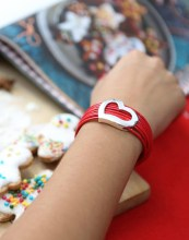 By Dziubeka €13.30 - Red Bracelet with Silver Heart http://bit.ly/1QmoNL3
