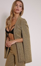 PrettyLittleThing €42 - Nicola Gold Metallic Ribbed Cape Blazer http://bit.ly/1TOdt8D