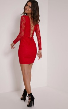 PrettyLittleThing €42 - Reena Red Lace Up Detail Mini Dress http://bit.ly/1YROaFC