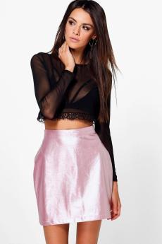 Boohoo €22 - Gianna Metallic A Line Leather Look Mini http://bit.ly/2dNn6qW