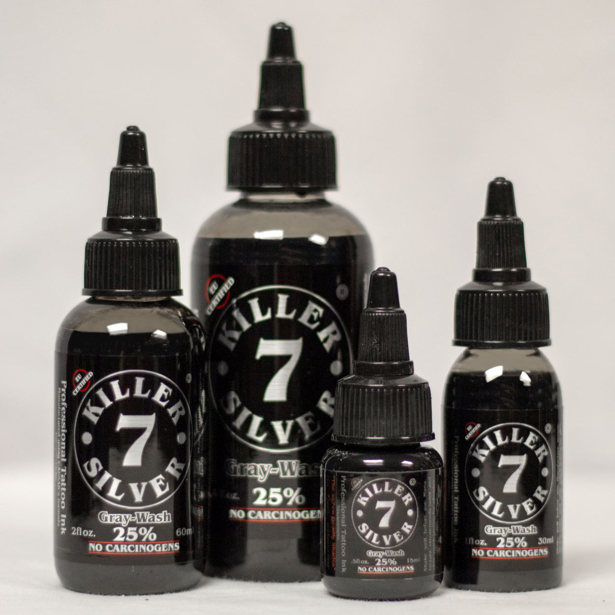 Killer Silver-Gray-Wash 25%-Tattoo Ink-4 sizes-Silver Darkness