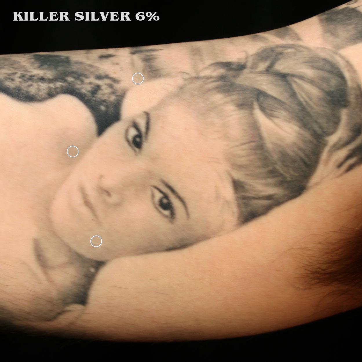 Girl Portrait Tattoo-Killer Silver 6%-Gray-Wash Tattoo Ink-Silver Softness