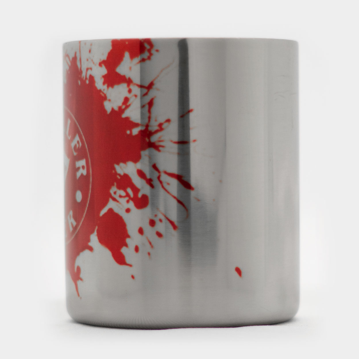 Metal Coffee Mug-RED Logo-Merchandise-Killer Silver